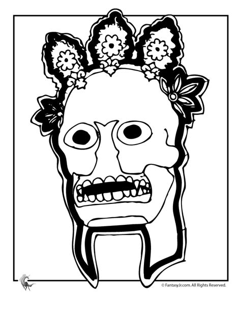 day of the dead mask coloring page woo jr kids activities