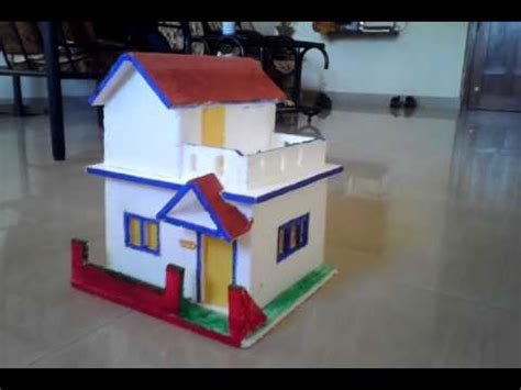 how to make thermocol bungalow house model school project thermocol house model for school project youtube