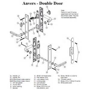 French Door Lock Repair - hardware kit double door anvers active passive satin nickel