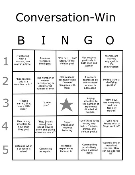 conversation bingo card templates for a large conversation win bingo card kristin king