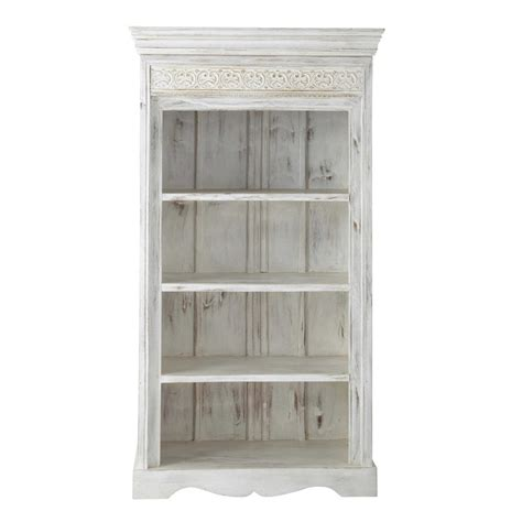 Solid Mango Wood Bookcase White W 98cm Namaskar Maisons Solid Wood White Bookcase