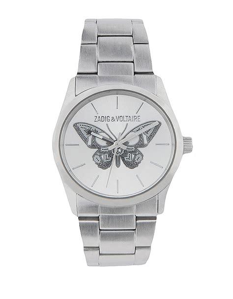 montre pour femme papillon acier dore 38 argent zadig voltaire