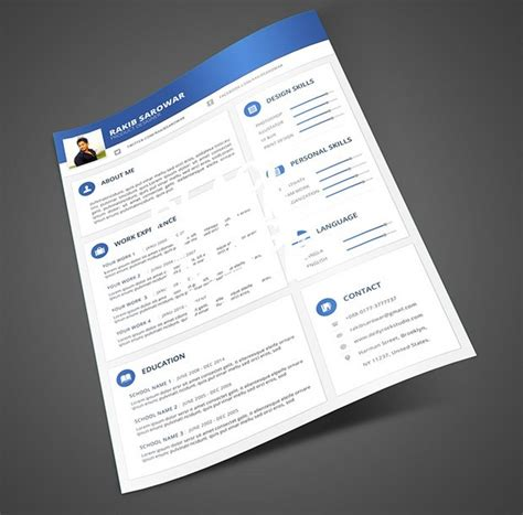 Resume Template Material Design Free Blue Material Design Resume Mockup Psd Titanui