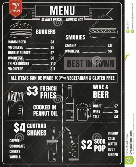 menu design elements restaurant menu design elements with chalk drawn food and