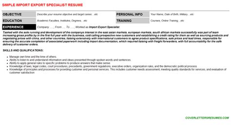 Import Specialist Cover Letter by Import Export Specialist Cover Letter And Resume Sle