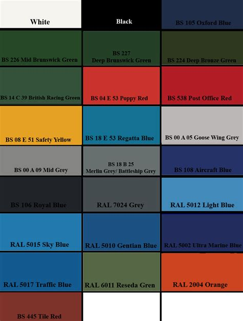 paint colour charts ral colours standard bs 4800 bs 381c