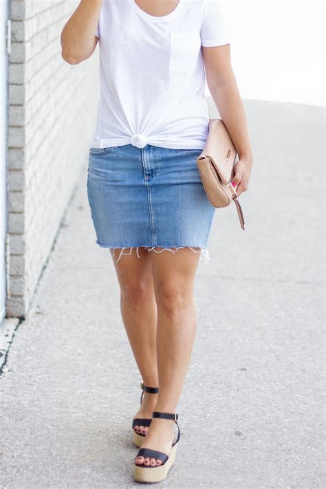 summer idea with a denim skirt something about that