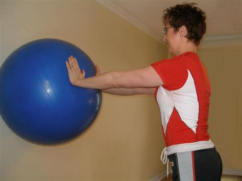 leaning straight   exercise ball standing plank