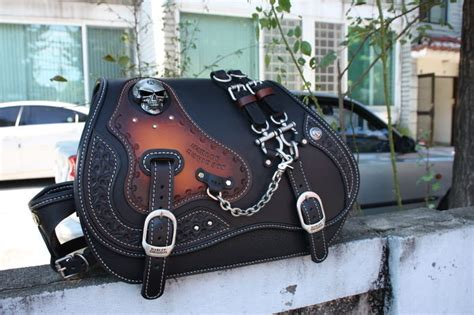 Handmade Leather Saddlebags - made custom skull saddlebag leather saddle bag
