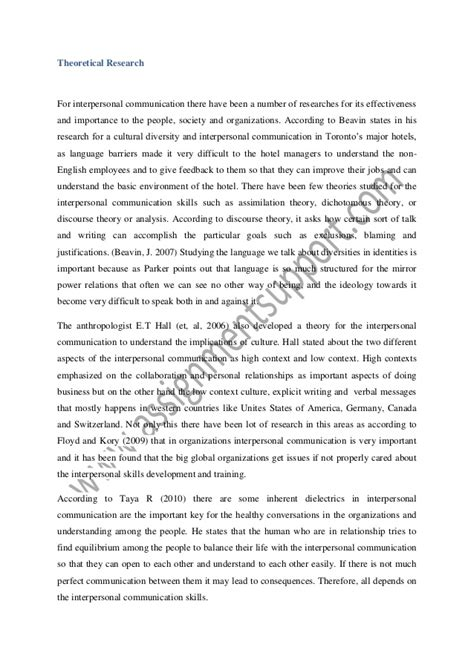 Communication Essay Exle by Interpersonal Communication Essay Sle From Assignmentsupport E