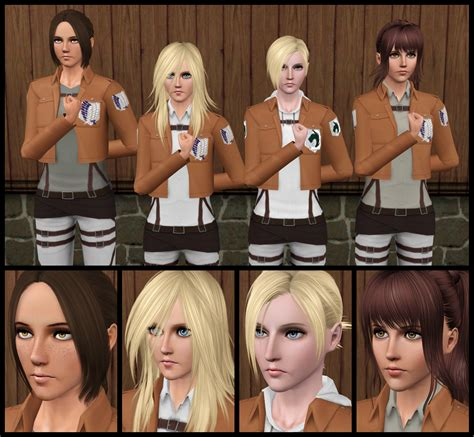 attack on titan sims 3 hair the sims 3 aot annie sasha krista ymir by tx slade