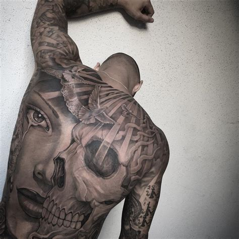 skull amp portrait mens full back piece best tattoo