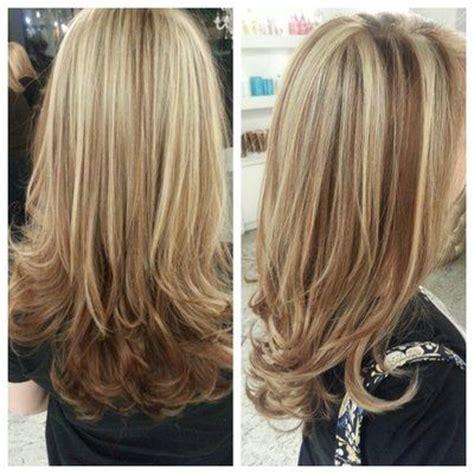 hi and low lights on layered hair chunky highlights and lowlights beige blonde highlights