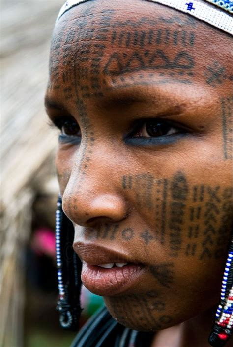 tribal tattoo face africa a peul covered with tattoos photo