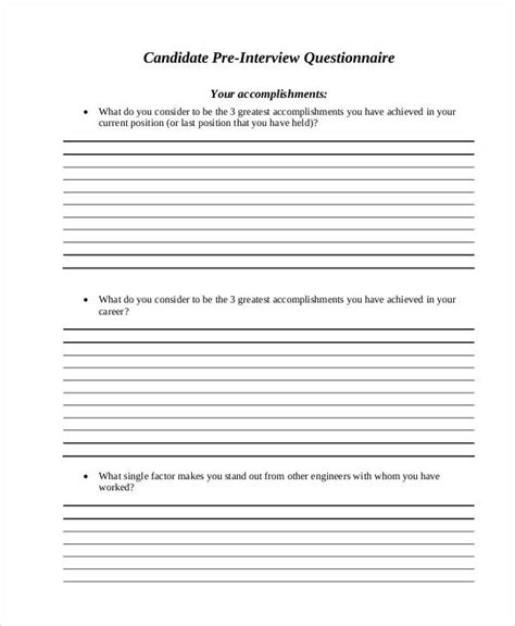 22 Exles Of Interview Questionnaires Candidate Questionnaire Template
