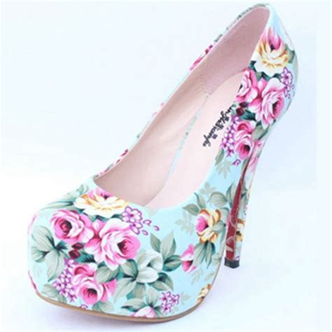 flower print high heels printing pumps 2015 new retro high heels thin