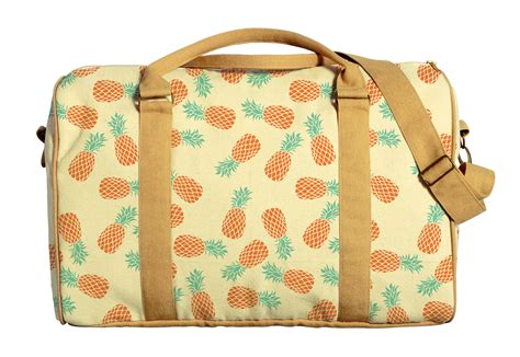 Travel Bag Kanvas Fruits 1 by Watercolor Fruit Patterns Printed Canvas Duffle Luggage