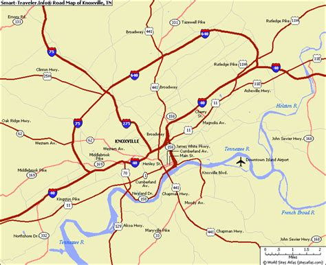 tn usa map knoxville city map images