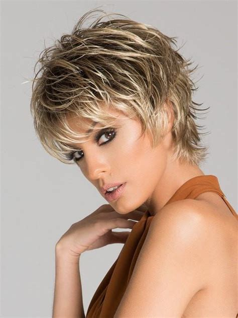 trendy spiked short golden brown colored layered wig click wig by ellen wille short choppy wigs com the