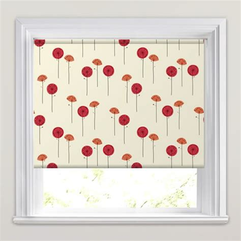 white patterned roller blind contemporary white orange red poppy patterned roller blinds