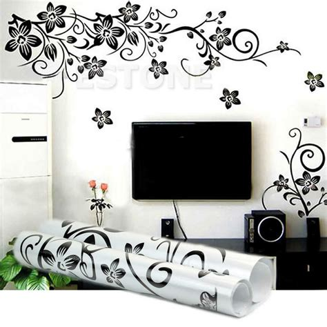home decor stickers black flowers removable wall stickers wall decals mural