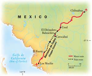 Copper Canyon Mexico Map by Copper Canyon National Geographic Expeditions