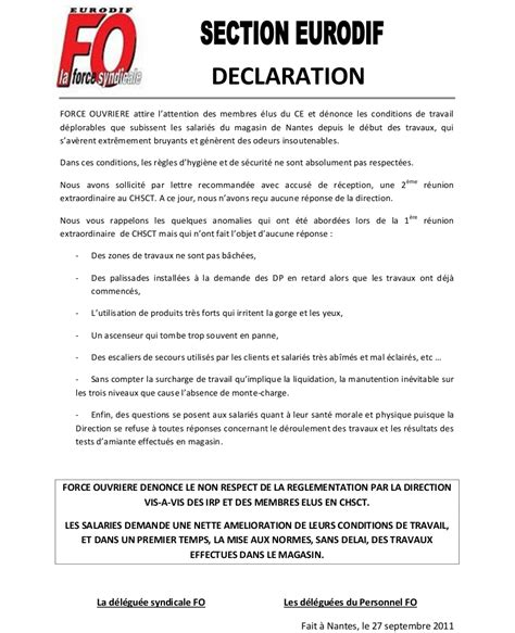 declaration section fo loire atlantique conditions de travail agravees et