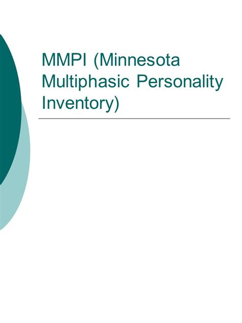 test mmpi mmpi minnesota multiphasic personality inventory ppt