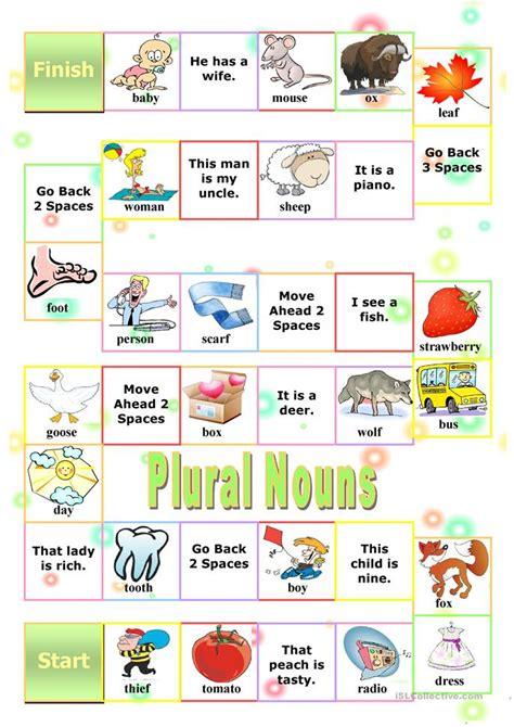 free printable noun board games plural nouns board game worksheet free esl printable