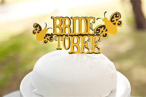 to bee bridal shower cake topper black and yellow bee