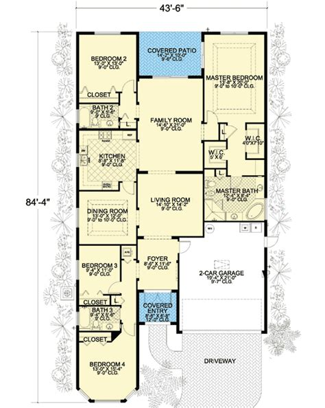 long narrow house floor plans long and narrow 32220aa architectural designs house plans
