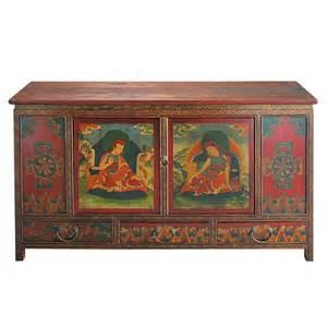 cabinet de rangement indien en bois multicolore l 120 cm