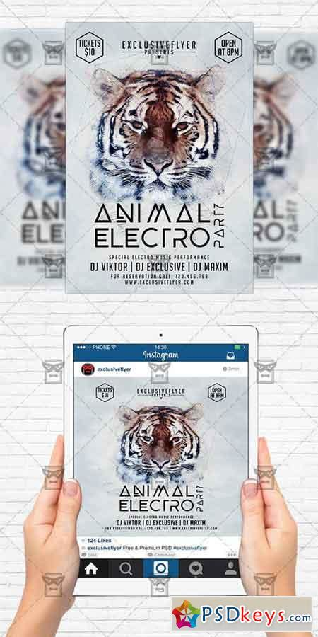 Animal Electro Party Flyer Template Instagram Size Flyer 187 Free Download Photoshop Vector Instagram Flyer Template