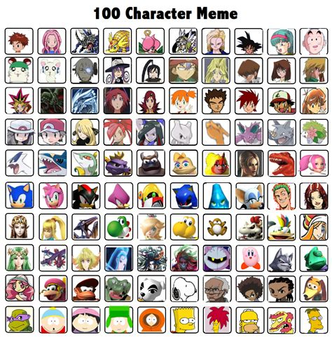 All Meme Characters - my top 100 characters over all meme by whosaskin on deviantart