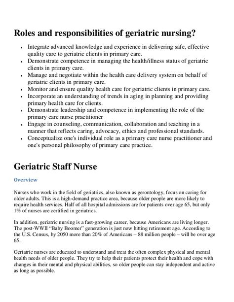 geriatric care nurse resume roles and responsibilities of geriatric nursing