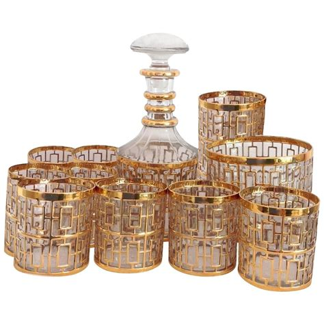 barware sets 1960s imperial glass shoji gold barware set at 1stdibs