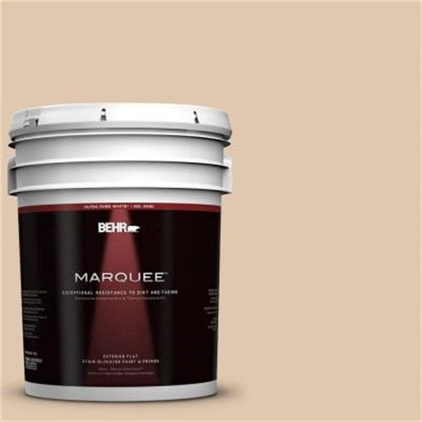 behr marquee 5 gal n260 2 almond latte flat exterior paint 445005 the home depot