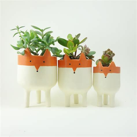 Planters For Plants by Fox Planters Three Ceramic Fox Plant Pots Garden