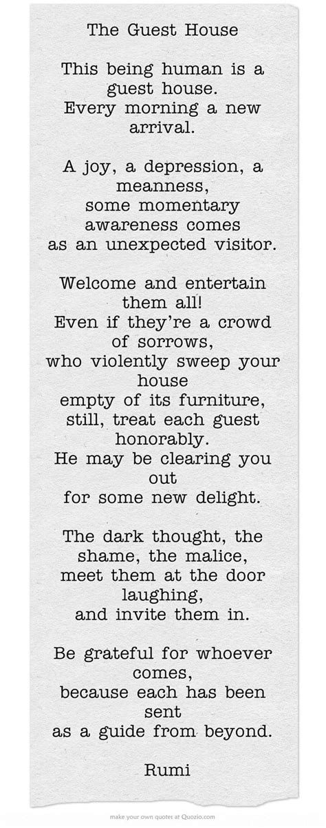 the guest house poem quot the guest house quot this is a good exle of an extended metaphor words that