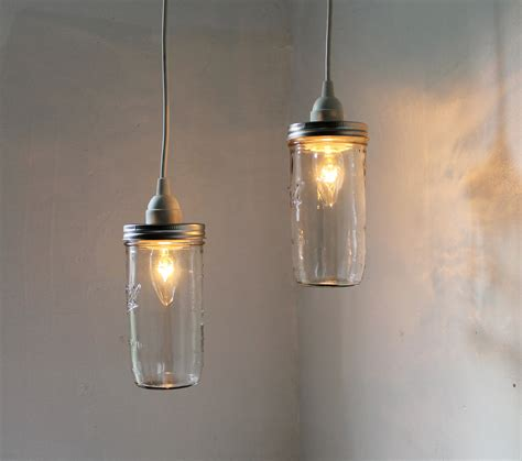 Hanging Kitchen Light Fixtures Stargaze Set Of 2 Hanging Jar Pendant Lights By Bootsngus