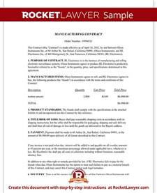 Manufacturing Agreement Template Free by Manufacturing Contract Free Contract Template With Sle