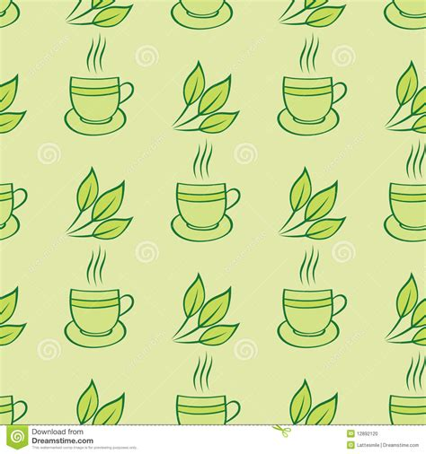 tea leaf pattern vector tea cups and leaves seamless pattern stock vector