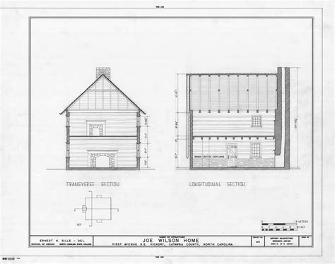 Longitudinal Section Architecture by Cross And Longitudinal Sections Joe Wilson House Hickory