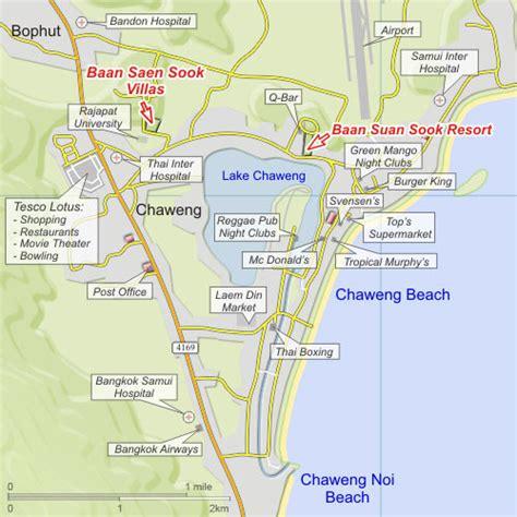 printable map koh samui baan saen sook villas holiday villas in chaweng koh