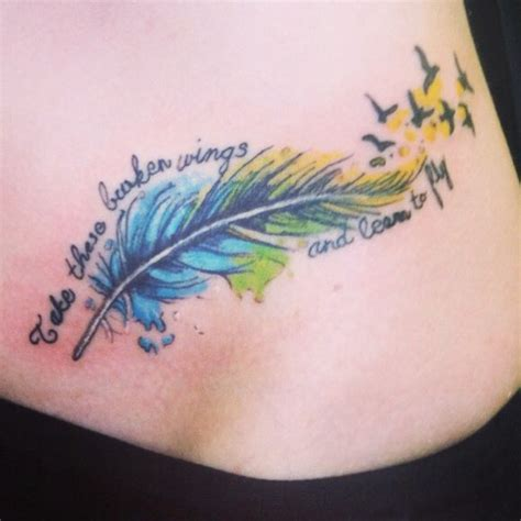 broken wing tattoo number 3 feather feather watercolor