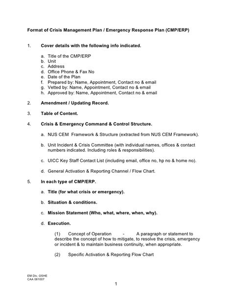 crisis management plan template format of crisis management plan emergency response plan