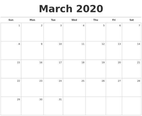 march blank monthly calendar