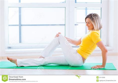 doing exercise at home royalty free stock