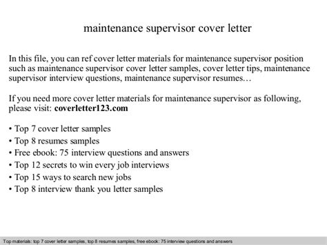 maintenance supervisor cover letter maintenance supervisor cover letter