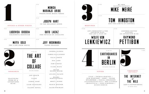 design inspiration table of contents editorial design and typography by matt willey creative